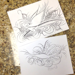A couple more attempts at bird flourishes. I'm struggling with these. One problem is that I used an oblique holder instead of slinging the ink properly with a straight holder. Second problem is that I was too heavy handed. Third problem is that I just suck in general. But at least I'm trying...nothing ventured, nothing gained!