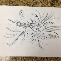 My bird flourish from Jake Weidmann's excellent class on F. B.Courtney flourishing . (At Iampeth).
